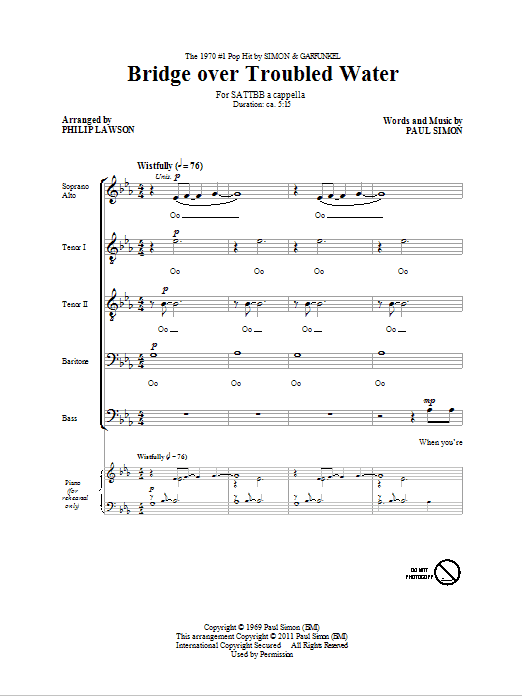 Partition chorale Bridge Over Troubled Water de Simon & Garfunkel - SATB