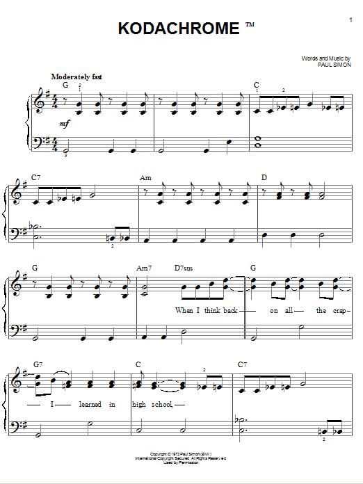 Partition piano Kodachrome de Paul Simon - Piano Facile
