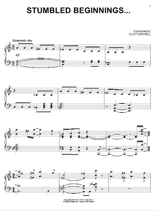 Partition piano Stumbled Beginnings... de Clint Mansell - Piano Solo