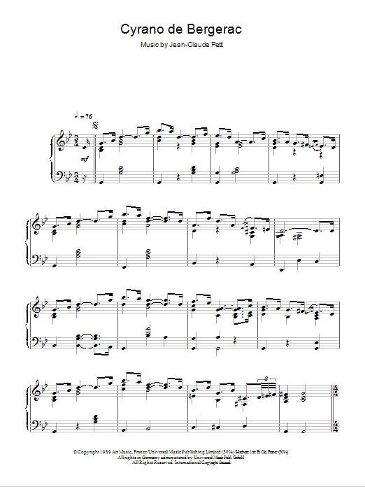 Cyrano De Bergerac sheet music for piano solo by Jean-claude Petit