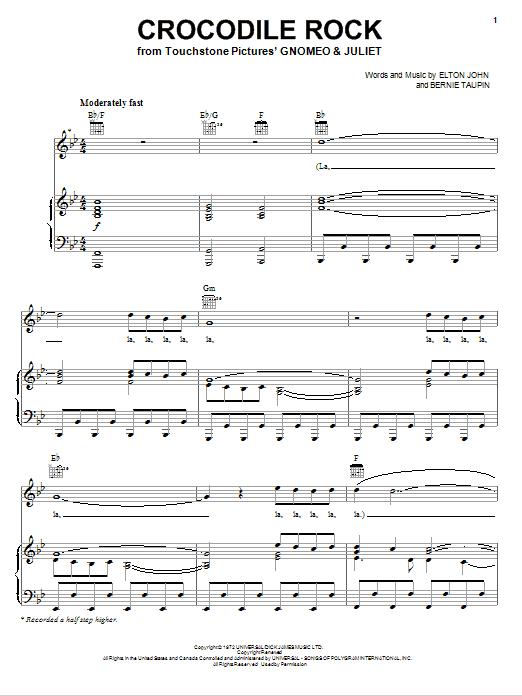 Partition piano Crocodile Rock de Elton John - Piano Voix Guitare (Mélodie Main Droite)