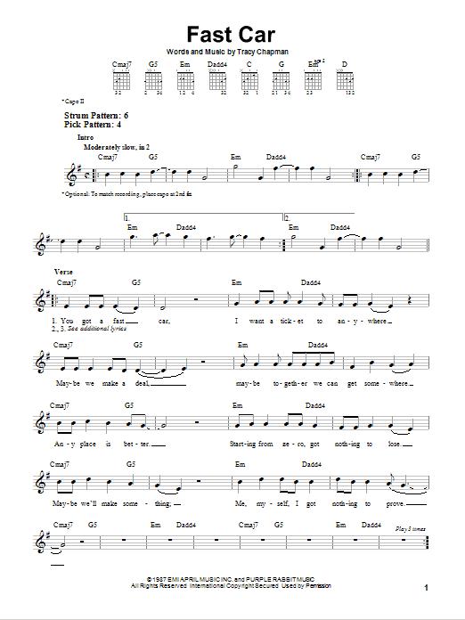 Tablature guitare Fast Car de Tracy Chapman - Tablature guitare facile