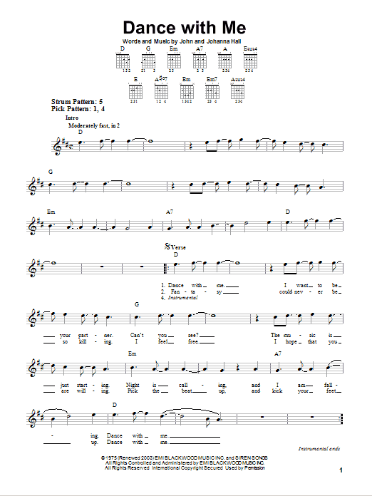 Dance With Me sheet music for guitar solo (chords) by John Hall