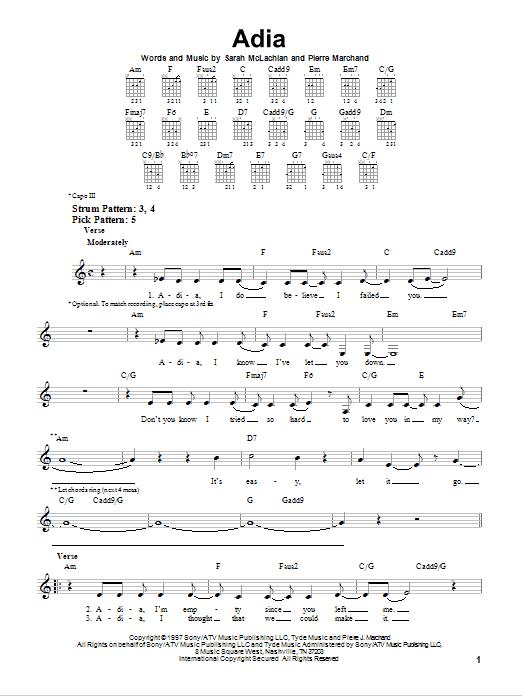Tablature guitare Adia de Sarah McLachlan - Tablature guitare facile
