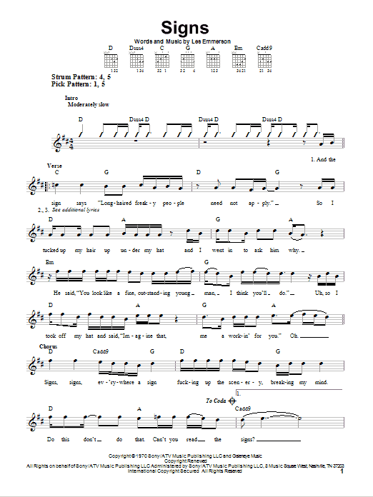 Signs sheet music for guitar solo (chords) by Les Emmerson