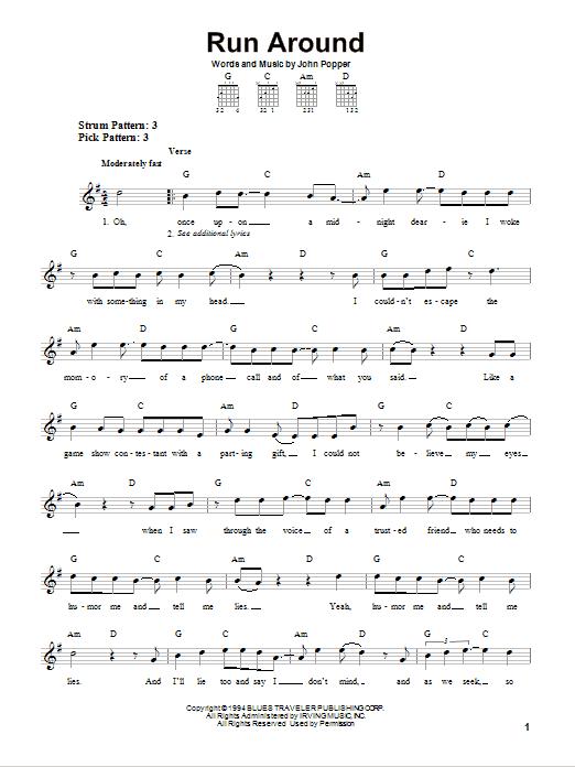 Tablature guitare Run Around de Blues Traveler - Tablature guitare facile