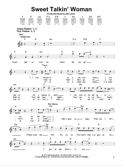 Tablature guitare Sweet Talkin' Woman de Electric Light Orchestra - Tablature guitare facile