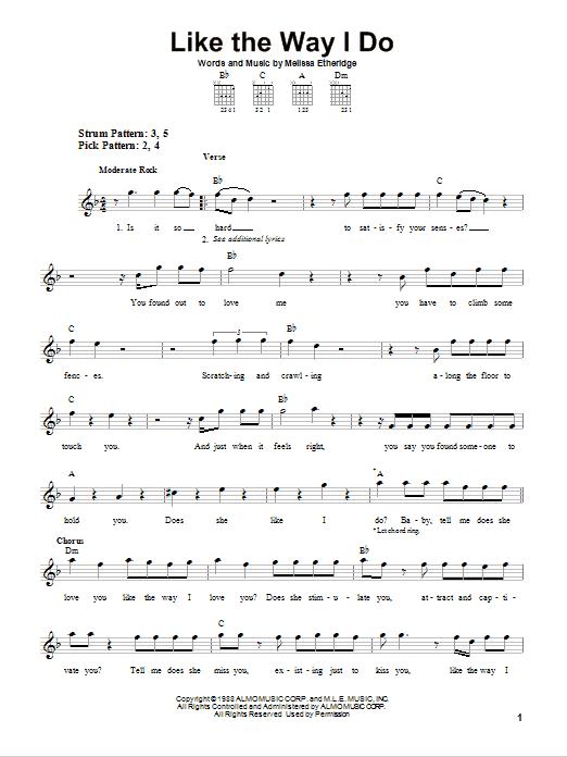 Tablature guitare Like The Way I Do de Melissa Etheridge - Tablature guitare facile