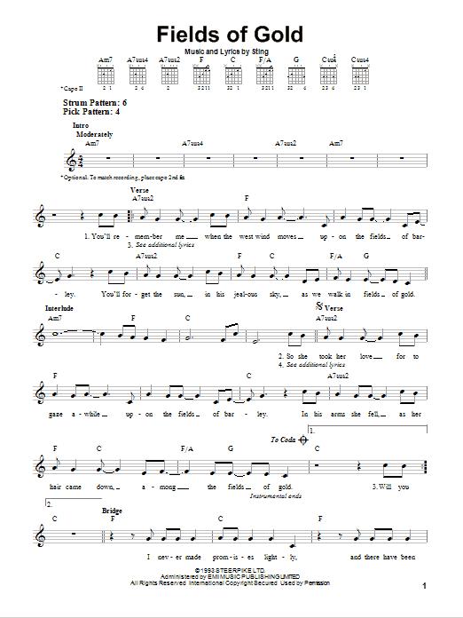 Tablature guitare Fields Of Gold de Sting - Tablature guitare facile