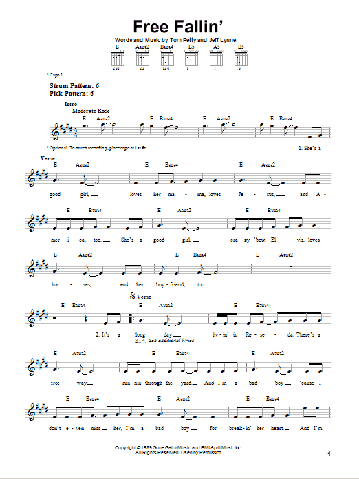 Tablature guitare Free Fallin' de Tom Petty - Tablature guitare facile