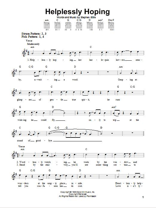 Tablature guitare Helplessly Hoping de Crosby, Stills & Nash - Tablature guitare facile