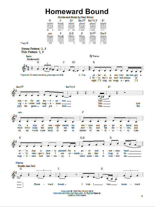 Tablature guitare Homeward Bound de Simon & Garfunkel - Tablature guitare facile