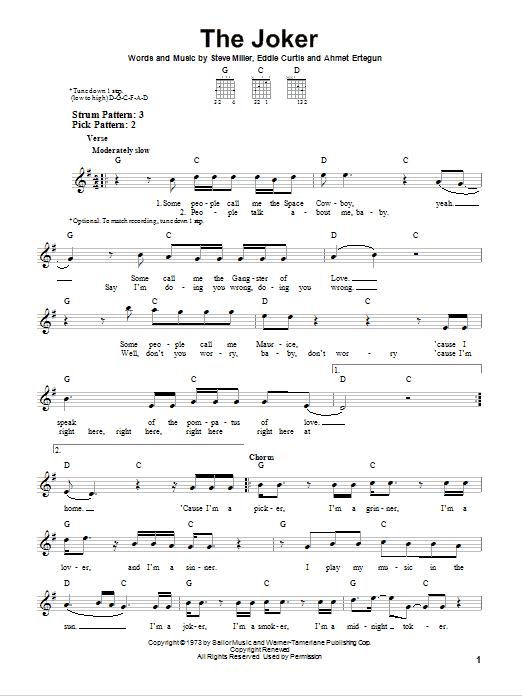 Tablature guitare The Joker de Steve Miller Band - Tablature guitare facile