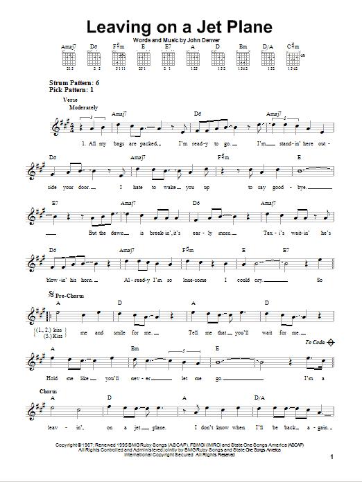 Tablature guitare Leaving On A Jet Plane de John Denver - Tablature guitare facile
