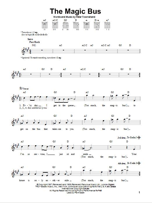 Tablature guitare The Magic Bus de The Who - Tablature guitare facile
