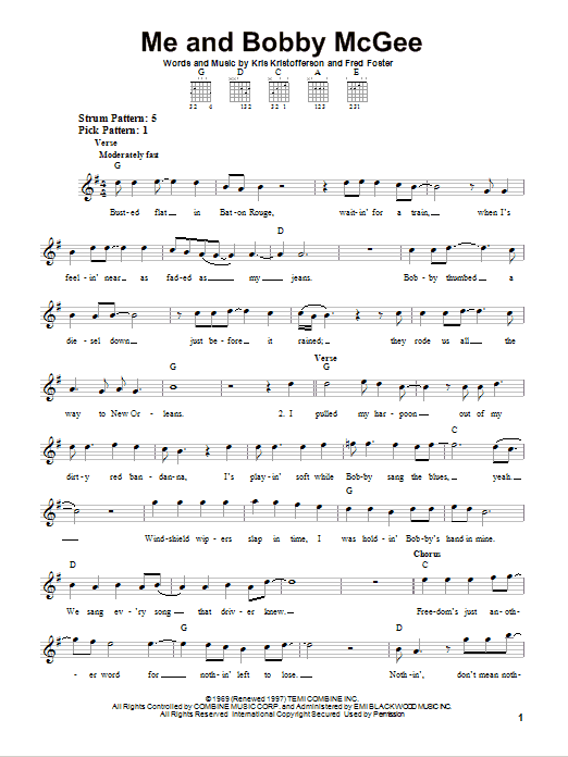 Me And Bobby McGee sheet music for guitar solo (chords) by Fred Foster