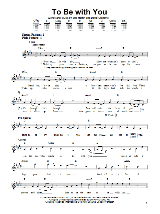 Tablature guitare To Be With You de Mr. Big - Tablature guitare facile