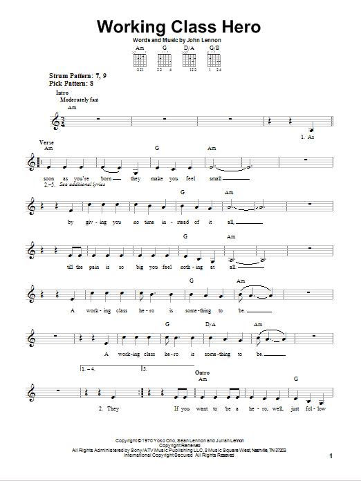 Tablature guitare Working Class Hero de John Lennon - Tablature guitare facile