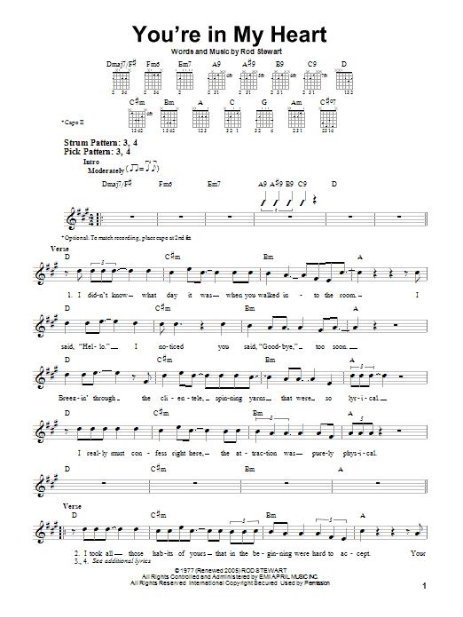 Tablature guitare You're In My Heart de Rod Stewart - Tablature guitare facile