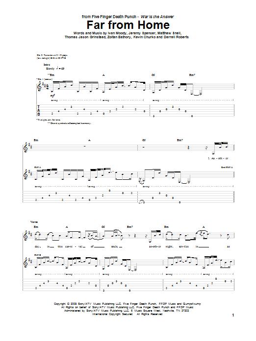 Tablature guitare Far From Home de Five Finger Death Punch - Tablature Guitare
