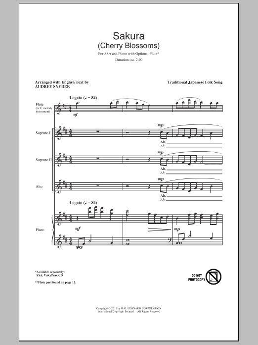 Sakura (Cherry Blossoms) sheet music for choir and piano (SSA)