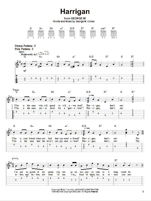 Tablature guitare Harrigan de George M. Cohan - Tablature guitare facile