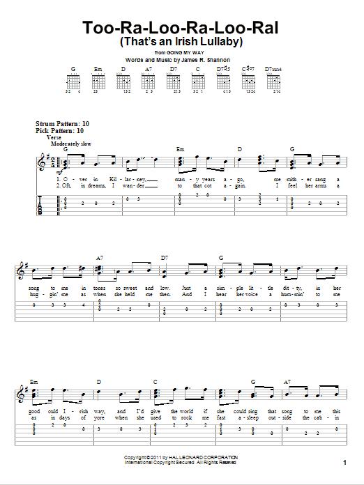 Tablature guitare Too-Ra-Loo-Ra-Loo-Ral (That's An Irish Lullaby) de James R. Shannon - Tablature guitare facile
