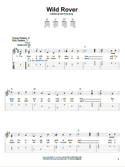 Tablature guitare Wild Rover de Irish Folksong - Tablature guitare facile