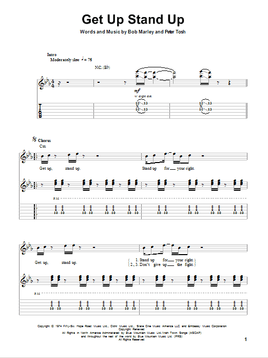 Tablature guitare Get Up Stand Up de Bob Marley - Tablature Guitare