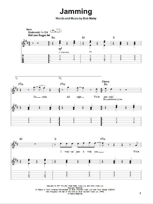 Tablature guitare Jamming de Bob Marley - Tablature Guitare
