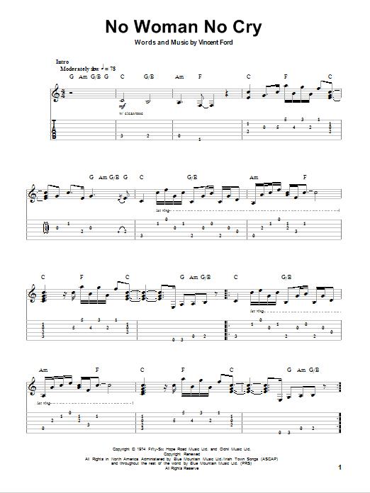 Tablature guitare No Woman No Cry de Bob Marley - Tablature Guitare