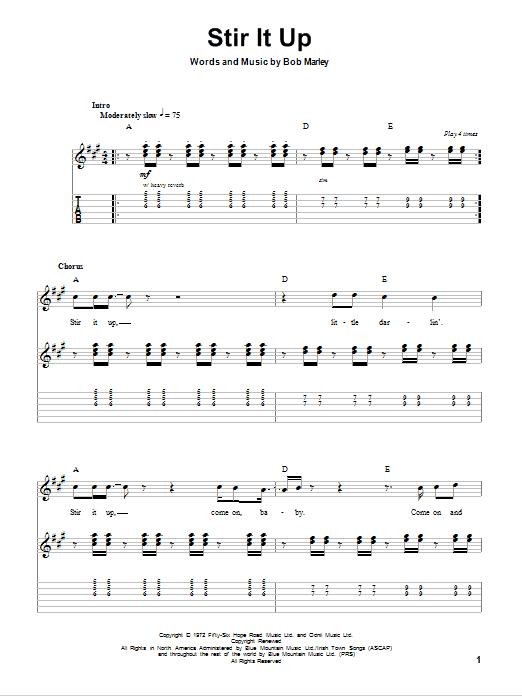 Tablature guitare Stir It Up de Bob Marley - Tablature Guitare