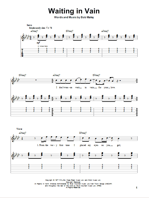 Tablature guitare Waiting In Vain de Bob Marley - Tablature Guitare