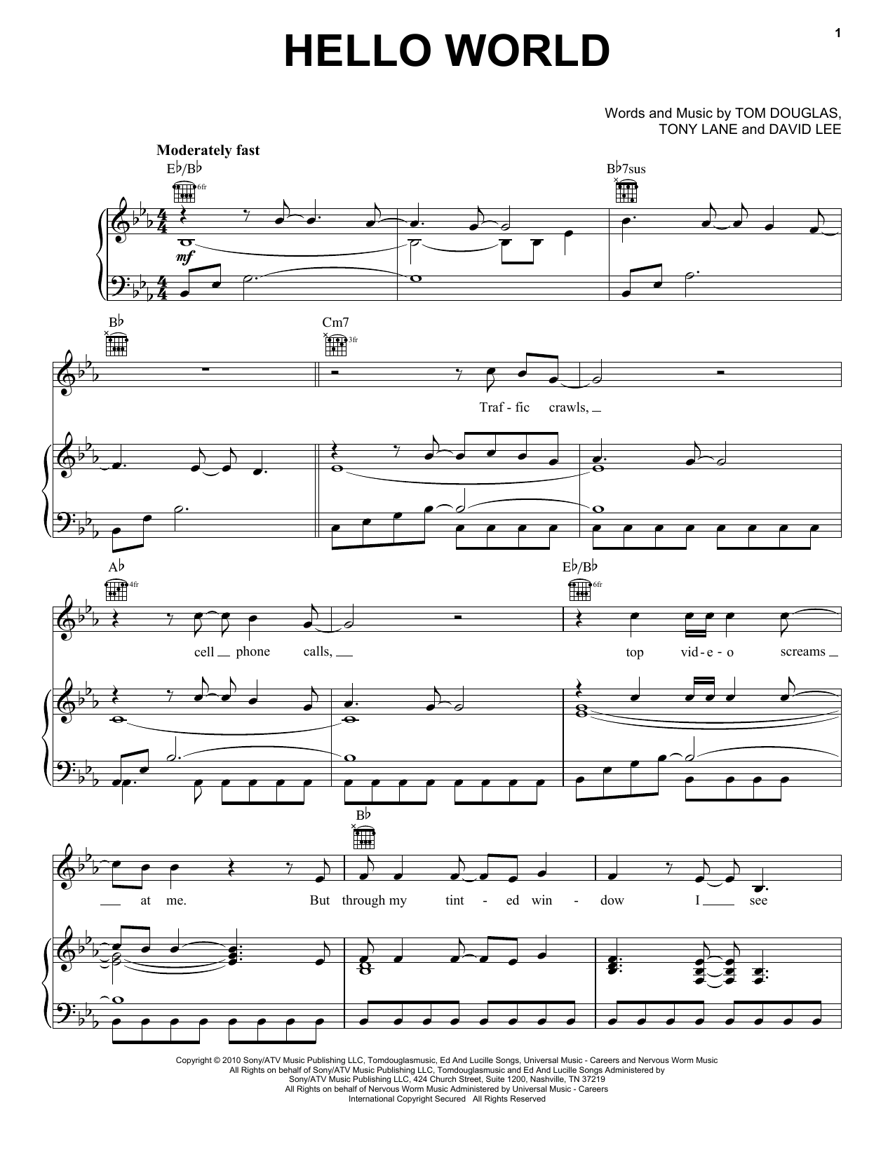 Hello World sheet music for voice, piano or guitar by Tony Lane