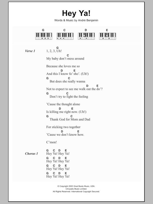 Hey Ya! sheet music for piano solo (chords, lyrics, melody) by Andre Benjamin