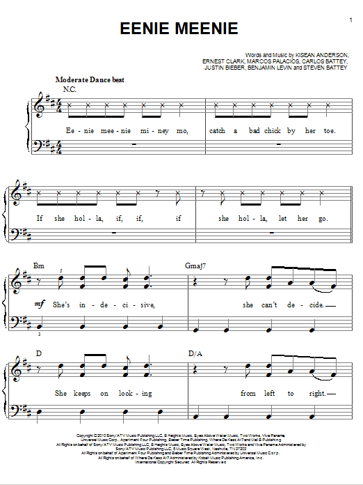 Eenie Meenie sheet music for piano solo (chords) by Steven Battey