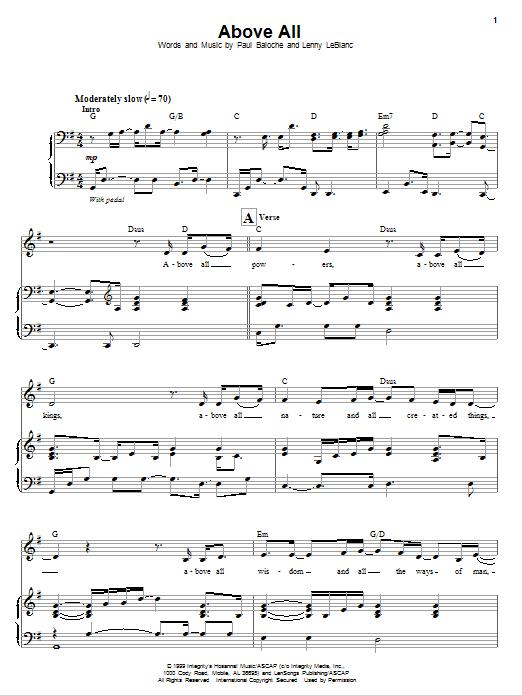Partition piano Above All de Paul Baloche - Piano Voix