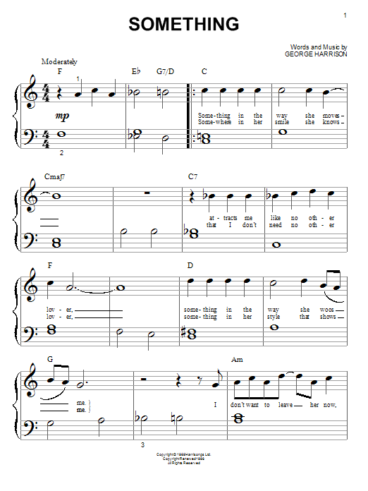 Something sheet music for piano solo (big note book) by George Harrison