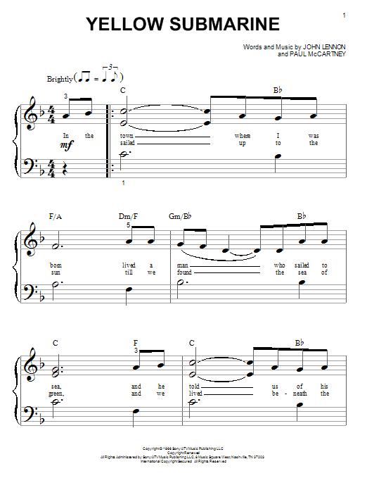 Partition piano Yellow Submarine de The Beatles - Piano Facile