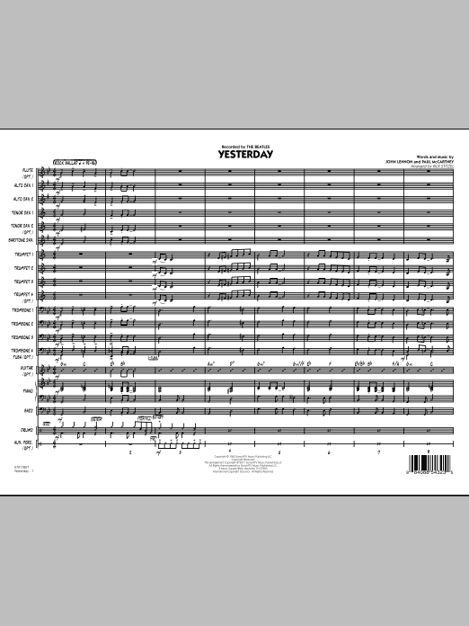 Yesterday (COMPLETE) sheet music for jazz band by Rick Stitzel