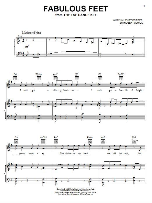Partition piano Fabulous Feet de Robert Lorick - Piano Voix Guitare (Mélodie Main Droite)