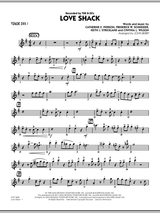 Love Shack (COMPLETE) sheet music for jazz band by John Berry