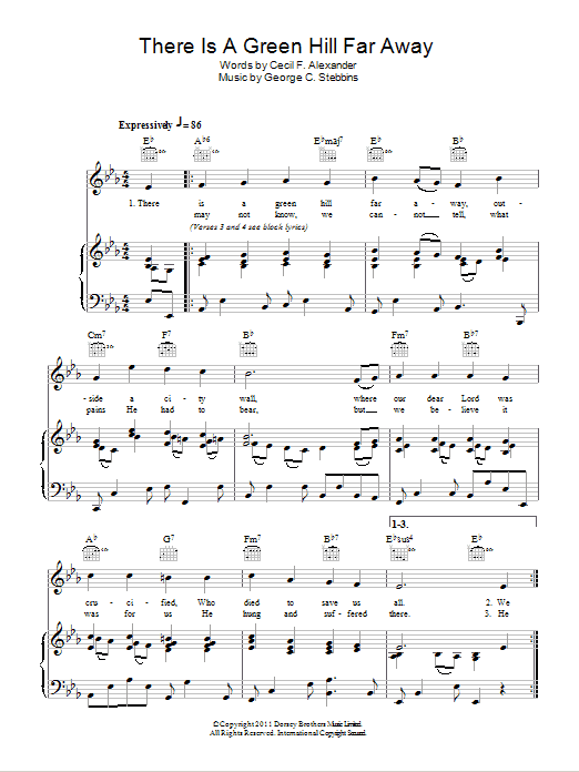 There Is A Green Hill Far Away sheet music for voice, piano or guitar by Cecil Alexander