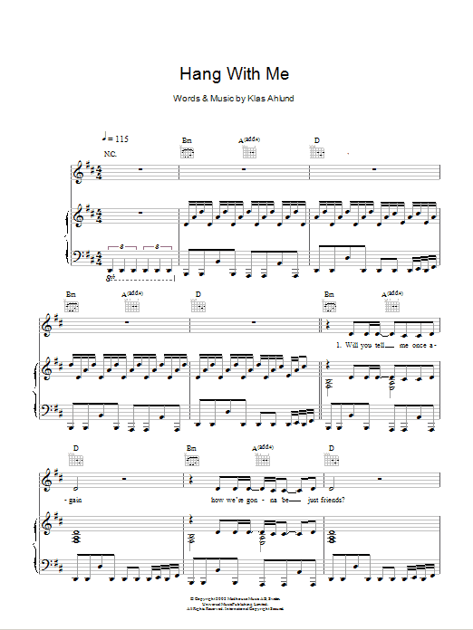 Hang With Me sheet music for voice, piano or guitar by Klas Ahlund