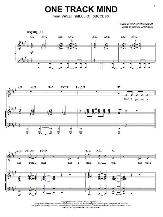 Partition piano One Track Mind de Craig Carnelia - Piano Voix