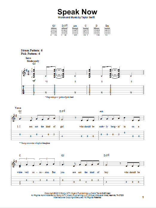 Tablature guitare Speak Now de Taylor Swift - Tablature guitare facile