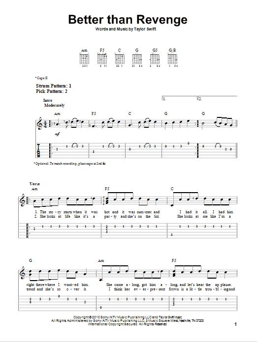 Tablature guitare Better Than Revenge de Taylor Swift - Tablature guitare facile