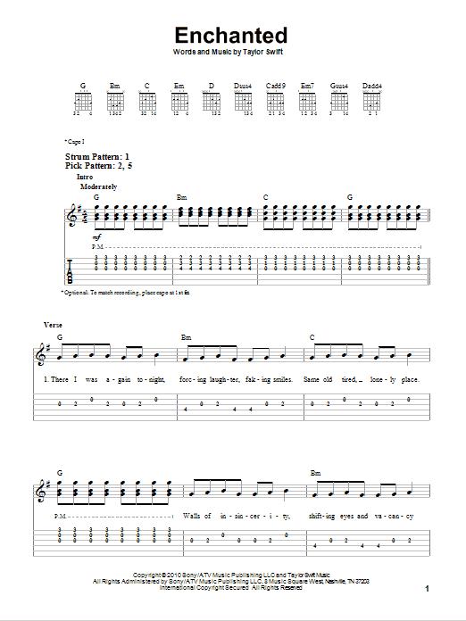 Tablature guitare Enchanted de Taylor Swift - Tablature guitare facile