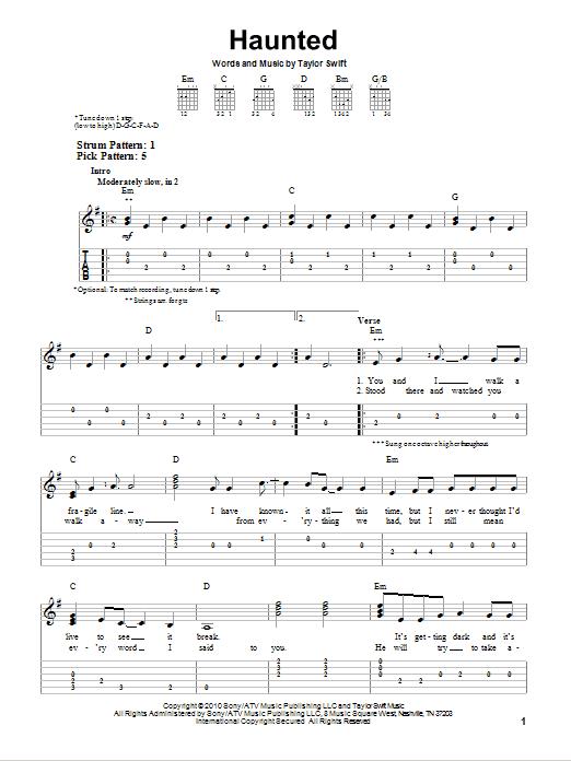 Tablature guitare Haunted de Taylor Swift - Tablature guitare facile