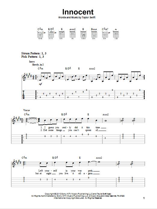 Tablature guitare Innocent de Taylor Swift - Tablature guitare facile